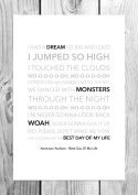 American Authors - Best Day Of My Life - Funky Lyric Art Print - A4 Size