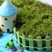 5Pcs Garden Ornament Miniature Wooden Fence Figurine Craft Plant Pot Fairy Decor DIY - Green
