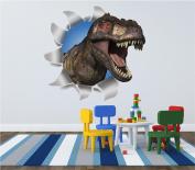 Dinosaur Ripped Wall T-Rex Kids 3D Wall Art Sticker Decal Full Colour Print