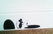 "Mouse Hole "" FISHING "" Skirting Board Wall Art Sticker Vinyl Decal "" 19cm x 6cm..UK SELLER"