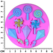 Holiday Fun Kites Lolipops Windmill Pinwheel Silicone Mould Mould for Cake Decorating Cake Cupcake Toppers Icing Sugarcraft Tool by Fairie Blessings