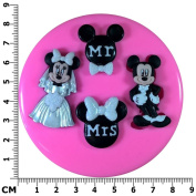 Mr & Mrs Mickey & Minnie Mouse Wedding Engagement Silicone Mould Mould for Cake Decorating Cake Cupcake Toppers Icing Sugarcraft Tool by Fairie Blessings