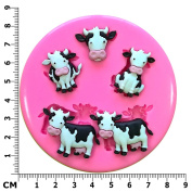 Cute Milk Cows Farmyard Animals Silicone Mould Mould for Cake Decorating Cake Cupcake Toppers Icing Sugarcraft Tool by Fairie Blessings