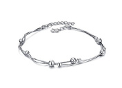 Dazzle Flash® silver plated cute little beads anklets with snake chain lobster clasp B221-6
