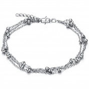 Dazzle Flash® triple chains 3 rows wrapped boho style silver tone foot anklets B221-2