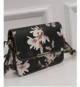 Lady's Shoulder Bag with Floral Print - Black