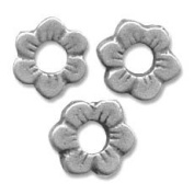Flower spacer beads 11mm Old silver tone x8