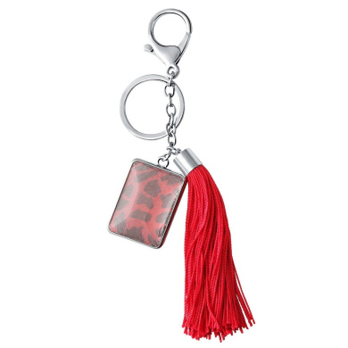 SENFAI Women Jewellery Keychain Red Nylon Cord Tassel Rectangle Double Sided Glass Charms Pendant Key Ring with Lobster Clasp