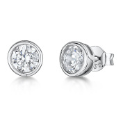 JOOLS by Jenny Brown ®8mm Rub Over CZ Silver Stud Earring