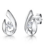 JOOLS by Jenny Brown ®Earrings With An Open 'Pear Drop' Shape And Surrounding Round CZ