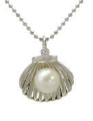 TIKIVILLE 925 Sterling Silver Shell Shape White Pearl Pendant, Rhodium Plated
