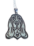 Bloodhound Dog Etched Silver Chain Heart Pendant Necklace by Pashal Puppies