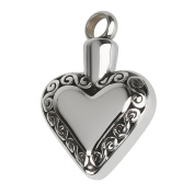 Stainless Steel Heart Cremation Keepsake Memorial Ash Urn Pendant Necklace