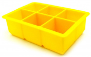 Generic Ice Cube Tray 6-Square Soft Silicone Ice Maker Jelly Pudding Mould - Yellow