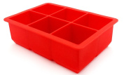 Generic Ice Cube Tray 6-Square Soft Silicone Ice Maker Jelly Pudding Mould - Red