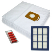 SPARES2GO Microfibre Cloth Bags + H12 HEPA Filter for Nilfisk Power P40 + Allergy Vacuum Cleaner