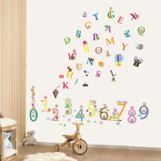 Walplus Alphabet and Numbers Wall Stickers, Vinyl, Multi-Colour