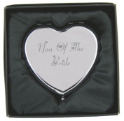 Engraved Nan of the Bride Heart Compact Hand Mirror with Gift Box!