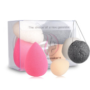 Start Makers 4in1 Makeup Sponge - Facial Cleansing Konjac Sponge (Charcoal Black & Natural White ) - Professional Makeup Blender for Foundation Cream Powder - Perfect Gift Box with Free Sucker Hook