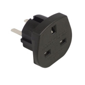 Ex-Pro® Travel Adapter Converts UK Plugs Plug to 2 pin (Flat) Converts - USA/Canada/Australian to UK 3Pin / EU 2 Pin Socket [BLACK]