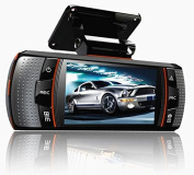 Accfly™ A1 6.9cm 1080P HD Full LCD Dual Lens Dashboard Cam Car DVR with 120°Wide-Angles ,Separate Rear Camera Vehicle Video Recorder ,HDMI ,Night Vision CCTV, Loop Recording ,Automatic Coverage ,Motion Detection, Support 32GB TF Memory Card