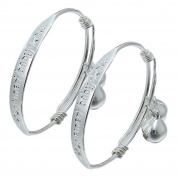 Bigood 1 Pair Baby Boys And Girls Silver Two bells Adjustable Bangle Bracelet Jewellery