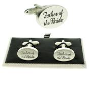 Father Of The Bride Silver Oval Wedding Cufflinks & Presentation Gift Box