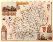 Hertfordshire Reproduction Antique Map, Retro Reproduction Hertfordshire Map, Thomas Moule Maps