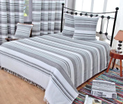 Homescapes Morocco Textured Stripe Throw 250cm x 360cm Monochrome Grey Charcoal White Handmade 100% Cotton Suitable for most 3 Seater Sofas Double King bedspreads Easy care washable at home