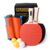 CUESOUL Retractable Anywhere Table Tennis Set with 2 Bats and 4 Balls
