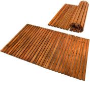 Wooden Bathroom Mat Rectangular Acacia Duck Board Pre-Oiled Shower Bath Mat - 80 x 50 cm