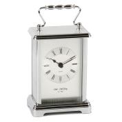 Wm Widdop Rectangular 2 Tone Silver Carriage Clock