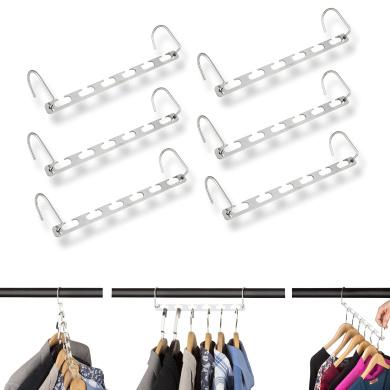 Linkin Metal Magic Wonder Hangers Closet Clothes Coat Organiser/Clothing Space Saver Storage (CHROME) - Set of 6 Pieces.