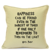 Harry Potter Cushion Cover Gift Happiness Can Be Found Even In The Darkest Of Times Quote Beige Cushion Cover Gift 18 Inch 45 cm Great Gift For Harry Potter Cushion Cover Gift Lovers