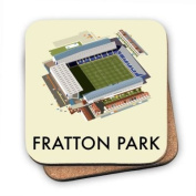 Art247 - Cork Backed Coaster with design of Fratton Park, Home of Portsmouth FC. By Illustrator Dave Thompson - 100mm x 100mm