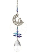 . Crystal Fantasy Hanging Suncatcher/Rainbow Maker + 38mm Almond - TWO CATS IN THE MOON - BLUE/PURPLE