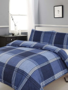 King Size Duvet / Quilt Cover Bedding Set Hamilton Cheque Blue Checked / Striped