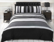 Signature Striped Adults Teenagers Quilt Duvet Cover and 2 Pillowcase Bedding Bed Set, Grey, King Size