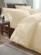 Broderie Luxury Balmoral Anglaise Embroidered Duvet Cover Set, Cream, King Size