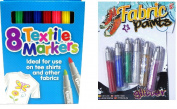 Coloured Fabric Markers T Shirt Pens Fabric Pens Marker Pen Textile Markers x 8 + Free 6 Fabric Glitter Paints
