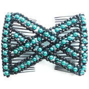Lovef Stylish Stretch Bling Pearl Bow Glass Bead Hair Head Comb Cuff Double Clip Hair Accessories for Women Gift