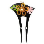 YOY Fashion Hair Decor Japanese Traditional Style Hair Sticks Pins Picks Pics Forks for Women Girls Hair Accessory Two Prong Candy Flowers and Leaves, Black