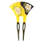YOY Fashion Hair Decor Japanese Traditional Style Hair Sticks Pins Picks Pics Forks for Women Girls Hair Accessory Two Prong with Floral, Yellow and Black