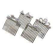 Rhinestone Assorted Set of Mini Hair Combs, Silver