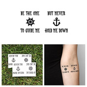 Tattify Nautical Quote Temporary Tattoo - Captain (Set of 2) - Other Styles Available - High Quality and Fashionable Temporary Tattoos - Tattoos that are Long Lasting and Waterproof