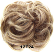 Beauty Wig World Scrunchie Bun Up Do Hair piece Hair Ribbon Ponytail Extensions Wavy Curly or Messy Various Colours#12T24 Light golden brown/Natural blonde