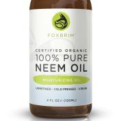 100% Pure Organic Neem Oil - Nutrient Rich Oil For Hair, Skin & Nails - Treat Acne, Fade Fine Lines, Heal Stretch Marks, Moisturise Hair & Scalp - Foxbrim 120ml