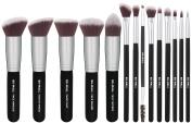 BS-MALL(TM) Premium 14 Pcs Foundation Concealers Eye Shadows Silver Black Makeup Brush Sets