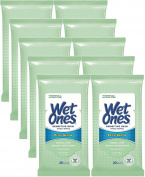 Wet Ones Sensitive Skin Hands & Face Wipes, 20 Count Travel Pack (Pack of 10) 200 Wipes Total