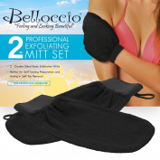 Belloccio Set of 2 Premium Tanning Exfoliating Glove Mitts; Preparation Shower Scrub Gloves for Sunless Self Tanning